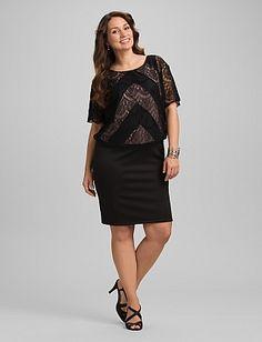 Plus Size Chevron Lace Blouson Dress