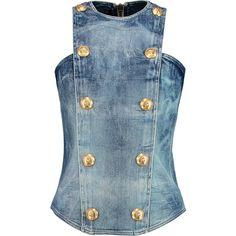 Balmain Embellished denim top (36,080 INR) ❤ liked on Polyvore