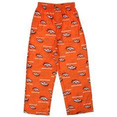 56d87945e2 Denver Broncos Youth Allover Logo Flannel Pajama Pants - Orange