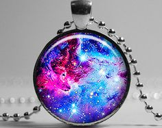 Galaxy Necklace, Fox Fur Nebula Pendant, Blue Purple Lilac Pink Silver Universe Jewelry