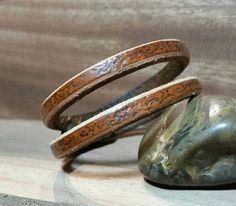 Leather Cuff Minimalist Jewelry Stamped Bracelet Antiqued