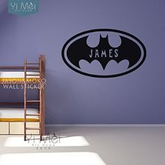 Batman Personalized Customized Name Wall Sticker Decal Mural Wallpaper Kids Boys Room Bedroom Graphic Home Decoration 45x80cm