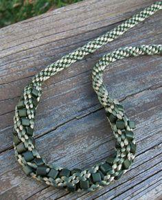Olive Green Beaded Kumihimo Necklace. Nancy Desrosiers via Etsy.