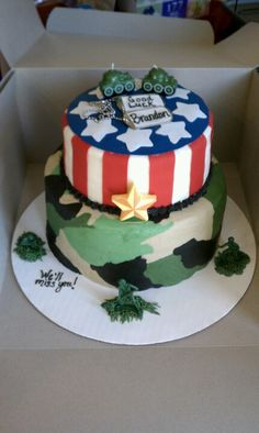 Made this military theme cake for my nephew, it's a farewell cake. He is leaving for the Army.