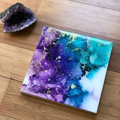I don't think i will ever tire of this color combo. Purple and blue alcohol inks.