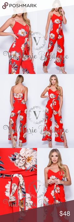 "Red Floral Side Slit Sexy Jumpsuit Get them QUICK!!! This is completely sold out from the manufacturer and is their #1 seller!!! Fits fitted with a nice stretch. Absolutely stunning on and so flattering. Apprx 58"" length with a 30"" inseam. Fully lined and looks exactly like stock photo. 97% knitted poly, 3% spandex. Has adorable tie empire waist and adjustable straps. Zips up back. Price firm unless bundled. ValMarie Boutique Pants Jumpsuits & Rompers"