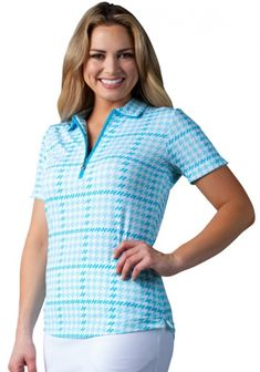 5a2bd3ee0ed SanSoleil Ladies   Plus Size SolTek Ice Short Sleeve Zip Golf Polo Shirts -  Maud Turquoise