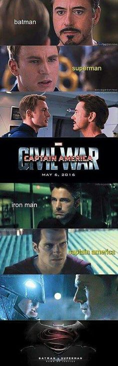 "I think it'll be the opposite. Not only would Stark and Wayne clash, Steve and Bruce are on the same side concerning the law. And the whole ""I'll kill you because of my mom"" thing with Tony and Clark. Ugh, civil war killed me."