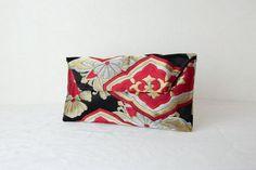 Valentines Clutch Bag Rising Glory Japanese Silk by KimonoTango