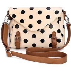 Retro Cute Polka Dot Messenger Bag Shoulder Bag( 3 colors) +free shipping ($26) found on Polyvore Store Envy