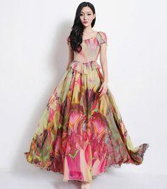 Floral Aline Dress Bohemian Boho Wedding Bridesmaid by ChineseHut, $169.00