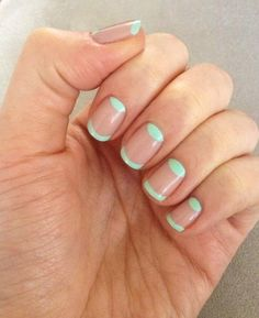 French Nails || nude with mint tips and moons