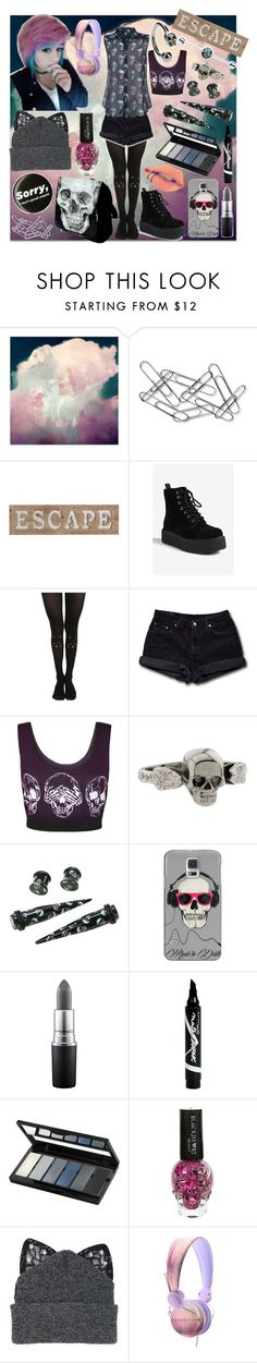 """""""Rmind me To Care"""" by theblackparade48 ❤ liked on Polyvore featuring Home Decorators Collection, Pier 1 Imports, T.U.K., Levi's, WearAll, Metal Couture, Casetify, MAC Cosmetics, Maybelline and Isadora"""