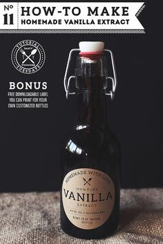 How-to Make Homemade Vanilla Extract by @tastyyummies with printable labels #glutenfree