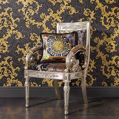 Versace Home, Vinyl Wallpaper, Poster Xxl, Charcoal Wallpaper, Posters,  Baroque, Fiber, Le Motif, Hollywood Regency