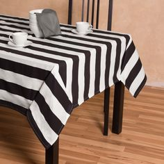 Stripes Rectangular Cotton Tablecloth Black U0026 White