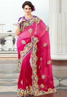 """Pink Viscose Georgette Saree designed with Zari,Patch Work. And as shown Purple Dhupion Blouse fabri c is available which can be customize as per requirements.   INR:-10,790 Only (With Discount 25% !! Use Coupon Code """"FLAT 25″ To Avail The Discount)"""