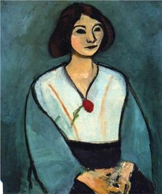 Henri Matisse (1869 - 1954) | Expressionism | Woman in Green with a Carnation - 1909