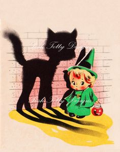 Halloween Pussy Cat and Little Witch 1940s by poshtottydesignz