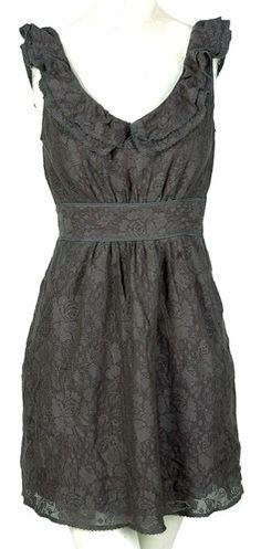 Maeve Anthropologie Gray Ruffle Lace Tunic Dress Medium M 6 | eBay