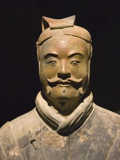 Terra cotta warrior with color still remaining, Emperor Qin Shihuangdi's Tomb, Xian, Shaanxi, China