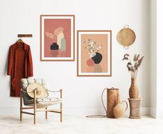 Downloadable Set of 2 Botanical Prints, Boho Wall Decor Potted Plants Art, Burnt Orange Wall Art, Terracotta Pot Print, Minimalist Plant Art Orange Wall Art, Green Wall Art, Orange Walls, Modern Art Prints, Modern Wall Art, Modern Tropical, Mid Century Modern Art, Plant Art, Minimalist Art