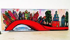 """""""Color the City"""" Acryl painting on canvas (large in length) by Assie's Art."""