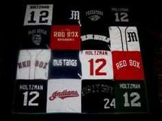 Baseball jersey quilt! This is such a cool idea!
