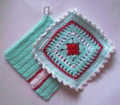Jan Eatons book 200 Crochet blocks ~ patterns Pink Stripes & Fretwork (slightly altered here)