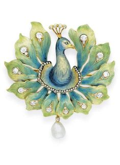 French Peacock brooch c.1900 -- Enamel, diamond and pearl - The blue and gold enamel head and neck with a rose-cut diamond eye and head feathers via Christies