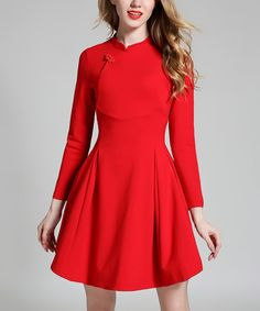 Another great find on #zulily! Red Long-Sleeve Fit & Flare Dress #zulilyfinds