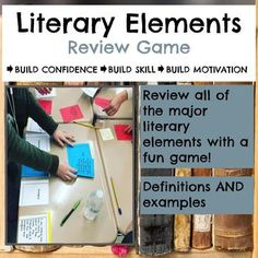 Have fun reviewing all of the major literary elements with your students using this Literary Elements Task Card Review Game. Students match each element with its definition and an example from classic literature. Make it a group game for added, hands-on fun! Literary Elements Activities, Elements Of Literature, Classic Literature, Reading Lessons, Reading Activities, Teaching Reading, Preschool Activities, English Teaching Materials, Student Teaching