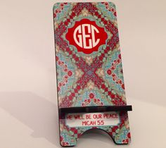 Cell Stand Monogram & personalized with bible verse Micah5:5He will be our peace newbeginningdesigns.com