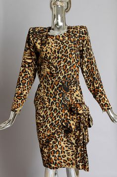 Saint Laurent Rive Gauche 70s Leopard Dress