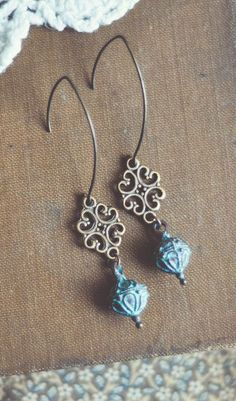 boho filigree patina drop earrings