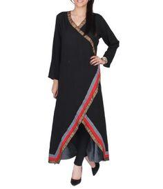 Black Cotton Angarkha Tunic