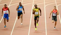 (L-R) Roberto Skyers of Cuba, Rolando Palacios of Honduras, Usain Bolt of Jamaica and Julian Reus of Germany compete in the Men's 200 metres heats during day four of the 15th IAAF World Athletics Championships Beijing 2015 at Beijing National Stadium on August 25, 2015 in Beijing, China.