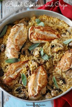 Chicken, orzo and mushrooms slow baked together for a flavorful, simple meal.