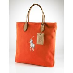 Ralph Lauren Orange Canvas Pony Slim Handbag all of us need it, Ralph Lauren Leather