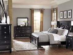 Rockford 5pcs Modern Cottage Queen King Low Profile Panel Bedroom Set Furniture