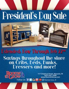 RTG Specials:President's Day Sale Extended through February 22nd. Saving throughout the store on Cribs, Beds, Bunks, Dressers and more! Go to Rooms to Grow for details.