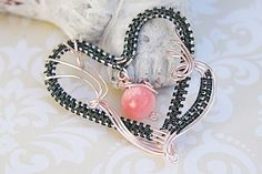 Wire Wrap Heart Pendant, Wire Wrap Heart Pendant with Pink Bead, Pink and Hematite Wire Wrap Heart Pendant