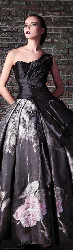 Black wedding dress with flower, Rami Kadi | Couture, F/W 2014