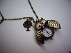 hoot owl pocket Watch locket necklace with a little tree. It's only 3.50$ go to the website