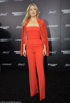 Stunning: Kate Hudson looked gorgeous in a chic red jumpsuit at the premiere of her film, Deepwater Horizon, in New Orleans on Monday