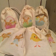 Set 4 hessian easter bunny mini treat prize egg hunt gift bags details about personalised cotton drawstring easter egg hunt party gift bags 15cm x 22cm negle Choice Image