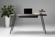 The clean DUOO Desk is featured in the minimalist furniture collection designed by Andrey Mohila for Zegen. The elegant desk lacks unnecessary details, only featuring those that perform a certain function and emphasize the authentic style of the piec Home Design, Design Salon, Home Office Design, Interior Design, Minimalist Desk, Minimalist Furniture, Bureau Design, Home Furniture, Furniture Design