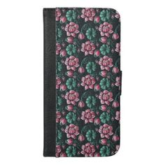 #Pink Lotus motif elegant floral pattern iPhone 6/6s Plus Wallet Case - cyo customize design idea do it yourself diy