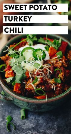 Lightened-up chili using ground turkey and sweet potato! This Sweet Potato Turkey Chili can be made in one-pot and will feed you all fall and winter long for dinner or lunches alike.