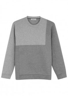 Grey panelled cotton blend sweatshirt